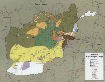 The areas where the different mujahideen forces operated in 1985 Afghanistan insurgency 1985.png