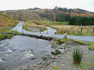 Low-water crossing - The drovers' road from Abergwesyn to Tregaron, Wales, crosses the Afon Irfon via the Irish bridge at the foot of the Devil's Staircase