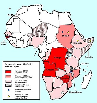 Cholera outbreaks and pandemics - By 12 February 2009, the number of cases of infection by cholera in sub-Saharan Africa had reached 128,548 and the number of fatalities, 4,053.