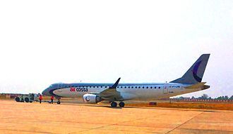 Coimbatore International Airport - An Air Costa Embraer E-190 at the airport