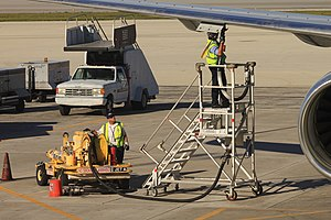Jet fuel - A US Airways Boeing 757 being fueled at Fort Lauderdale–Hollywood International Airport.