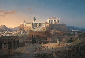 Parthenon - Reconstruction of the Acropolis and Areopagus in Athens, Leo von Klenze, 1846