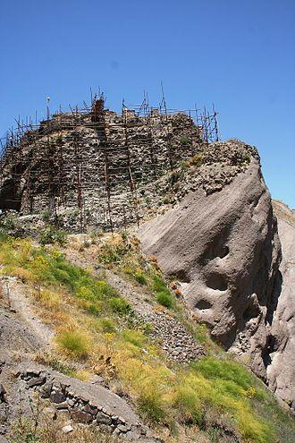 Alamut Castle - Scaffolding by Iran's Cultural Heritage Organization.