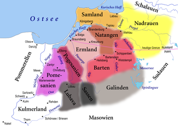 Old Prussian landscapes in the 13th century, below left the Kulmer Land in the Vistula knee
