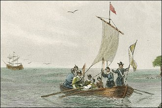 Virginia (pinnace) - Virginia pinnace approaching the Virginia shore, Seth Eastman c. 1850.