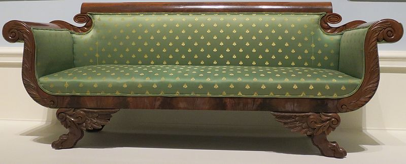 File:American empire style sofa, c. 1820-30, wood, mahogany veneer and brocade upholstery, Dayton Art Institute.JPG