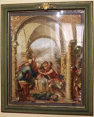 Stanislaus Kostka - Stanislaus Kostka beaten by his brother, painting by Andrea Pozzo