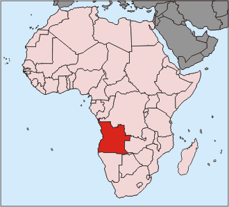 United Nations Security Council Resolution 1433 - Location of Angola in Africa