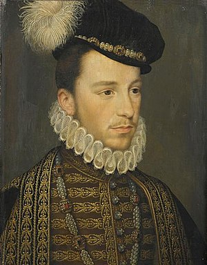 "Les Mignons - Henri III, then Duke of Anjou, dressed in elegant attire of 1570, including a ""little bonnet of velvet"". Painting by Jean de Court."