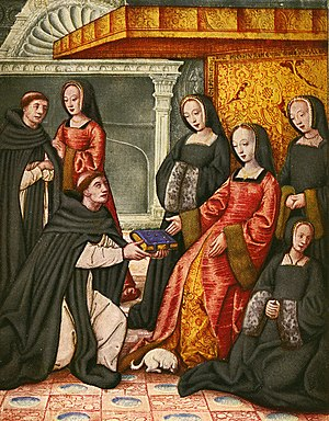 1500–1550 in Western European fashion - Anne of Brittany, Queen of France, and her ladies wear round hoods over linen caps. Anne's gown is open at the front to reveal a figured silk kirtle beneath.  The gowns have wide sleeves with turned-back cuffs lined in fur, 1508.