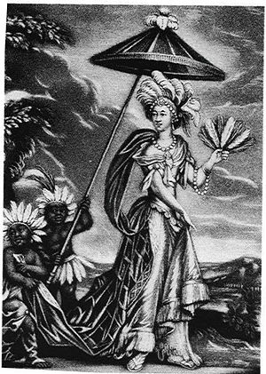 Oroonoko - Anne Bracegirdle appearing in John Dryden's The Indian Queen in a headdress of feathers purportedly given by Aphra Behn to Thomas Killigrew. Scholars speculate that Behn had this headdress from her time in Surinam.