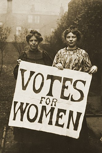 Women's rights - Annie Kenney and Christabel Pankhurst campaigning for women's suffrage