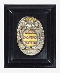 Ingelijste schildering op glas met wapen van Peerina Bernagie