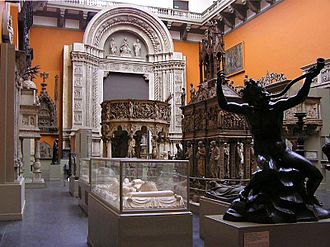 Cast Courts (Victoria and Albert Museum) - The East Court which has casts of Italian monuments and the Porta Magna of San Petronio Basilica in Bologna by Jacopo della Quercia