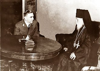 Ante Pavelić - Pavelić with Archbishop Germogen of the Croatian Orthodox Church (1942)