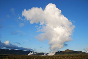 Anthropogenic cloud - Cumulus Homogenitus produced by the emissions of the geothermal power station located in Nesjavellir (Island, August 2009).