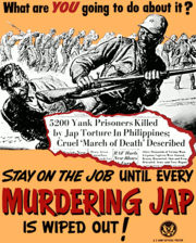 News of this atrocity sparked outrage in the US, as shown by this racially-charged propaganda poster. The newspaper clipping shown refers to the Bataan Death March.
