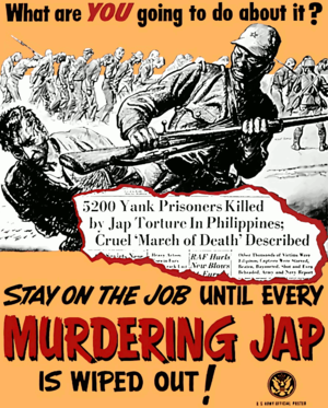 A propaganda newspaper clipping that refers to the Bataan Death March in 1942 Anti-Japan2.png