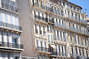 Apartment building facades close up view, Marseille, Provence-Alpes-Côte d'Azur, Southeastern France , Western Europe