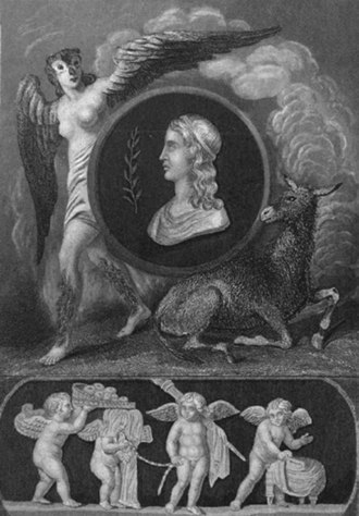 Apuleius - Frontispiece from the Bohn's Classical Library edition of The Works of Apuleius: a portrait of Apuleius flanked by Pamphile changing into an owl and the Golden Ass