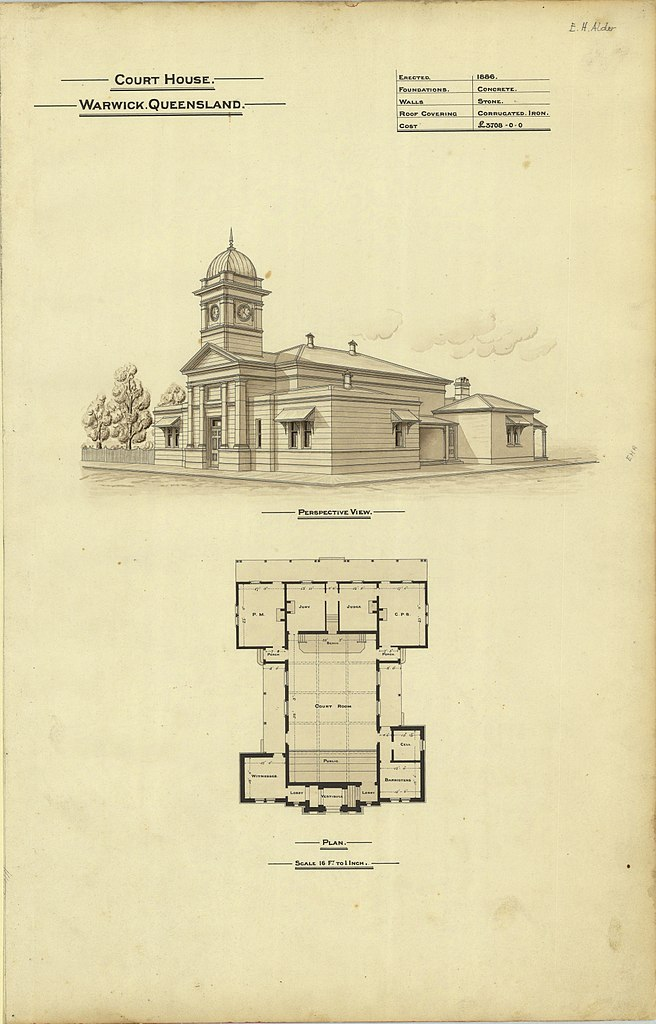 File architectural plans of court house warwick for Cout plan architecte
