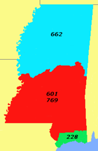 Area code 228 - Area code 228, the smallest in the state, taking up its coast.