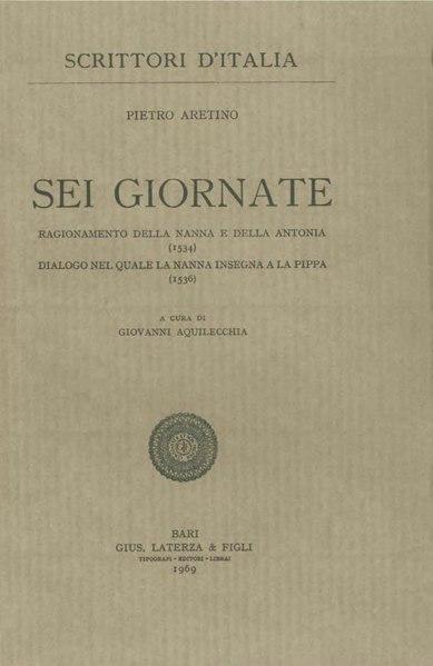 File:Aretino, Pietro – Sei giornate, 1969 – BEIC 1735292.djvu