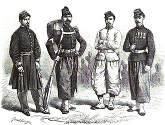 Argentine Army - Argentine infantry soldiers in Paraguayan War illustrated by Ange-Louis Janes for L'Illustration, 1864).
