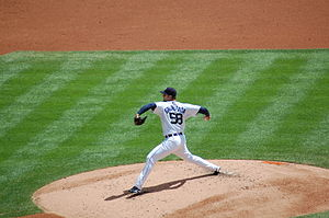 Armando Galarraga's near-perfect game - Galarraga pitching for the Tigers in 2010