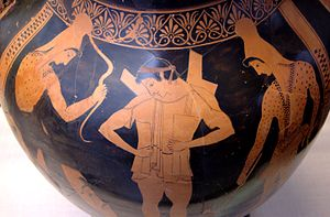 Euthymides - Hector putting his armor on, side A of a red-figure paunch amphora, 510–500 BC, Staatliche Antikensammlungen (Inv. 2308).