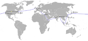 Around the World in Eighty Days - Map of the trip