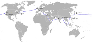 Wikipedia map of Phileas Fogg's trip in 'Around the World in 80 Days'