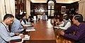 Arun Jaitley holding his first meeting with the Finance Secretary, Dr. Hasmukh Adhia, the Secretary (Expenditure), Shri A.N. Jha, the Secretary, Department of Financial Services, Shri Rajeev Kumar, the Chairman, CBDT.JPG