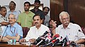 Ashok Gajapathi Raju Pusapati and the Minister of State for Culture (Independent Charge), Tourism (Independent Charge) and Civil Aviation, Dr. Mahesh Sharma addressing the media on Regional Connectivity, in New Delhi.jpg