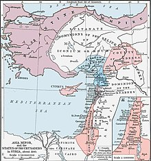 Hand colored map of the Near East. At the top is the Byzantine Empire, which encircles the Seljuq Turks from north, west and south. Below those two groups are the Armenian Kingdom of Cilicia on the west and the County of Edessa on the east. Stretching along the coast below them are the Principality of Antioch, the County of Tripoli and the Latin Kingdom of Jerusalem, chief of the Catholic Crusader states. To the east of the coast is Emirate of Damascus and the Dominion of the Atabeks. At the bottom of the map is the Caliphate of Cairo.