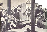 The assassination of Prime Minister Spencer Perceval in 1812 in the lobby of the House of Commons