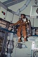 Astronaut Alan Bean flies the Astronaut Maneuvering Equipment
