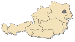 Location of Vienna in Austria