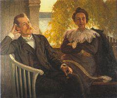 Per Hallström og hans hustru Helga.   Maling af Richard Bergh 1904 (Bonniers portrætsamling)