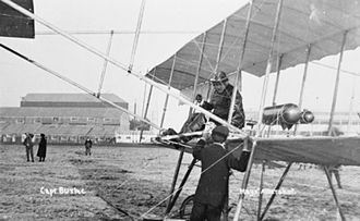 Charles Burke (British Army officer) - Burke in the cockpit of pre-World War I a pusher biplane.