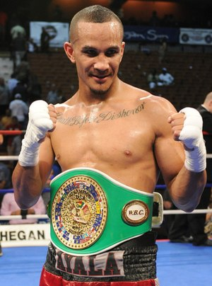 Elvin Ayala - Ayala with the WBC USNBC middleweight championship belt on July 29, 2011