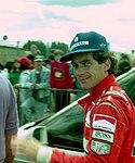 Ayrton Senna in the paddock before the 1993 British Grand Prix (33686752075).jpg
