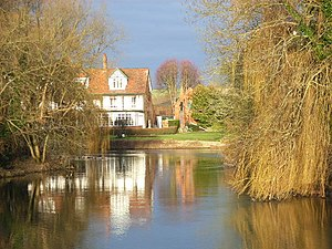 Sonning Eye - Backwater of the Thames at Sonning Eye, with a view of the French Horn at Sonning.