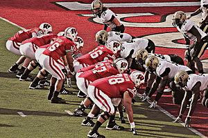 Russell Wilson - Wilson and the Badgers threaten the Purdue Boilermakers end zone in 2011