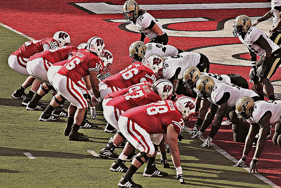Badgers and Russell Wilson at Purdue endzone