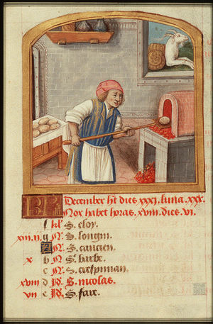 Microbes in human culture - Calendar from a Medieval book of hours: the month of December, showing a baker putting bread into the oven. c. 1490–1500
