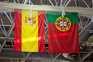 Portugal–Spain relations - Flags of Spain and Portugal at a friendly volleyball game between their national teams.