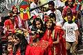Bangladeshi girls wearing draping sari with flower crown at Pohela Boishakh celebration 2016 (03).jpg