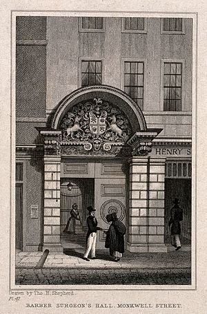 Worshipful Company of Barbers - The Barber-Surgeons' Hall on Monkwell Street in 1830