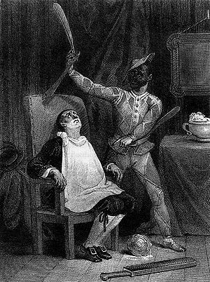 The Barber of Seville (play) - A scene from a 19th-century version of The Barber of Seville. Its origins in the commedia dell'arte are shown in this picture which portrays Figaro dressed in the costume and mask of Harlequin.